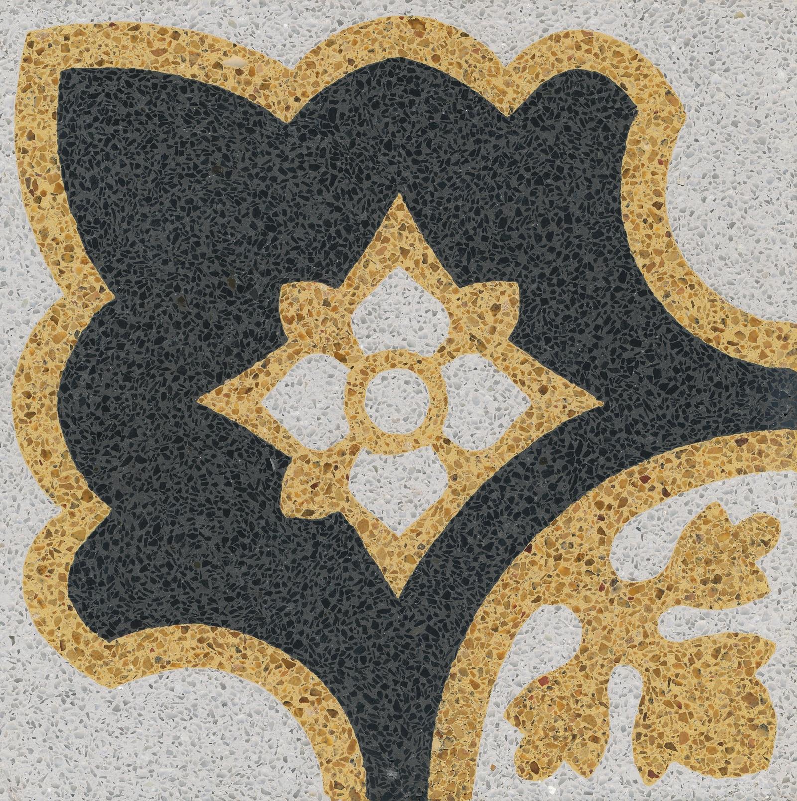 VIA Terrazzoboden Eckmuster mit gelb
