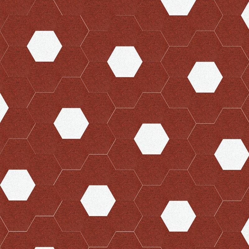 VIA Terrazzoplatten 6eck in rot und weiß