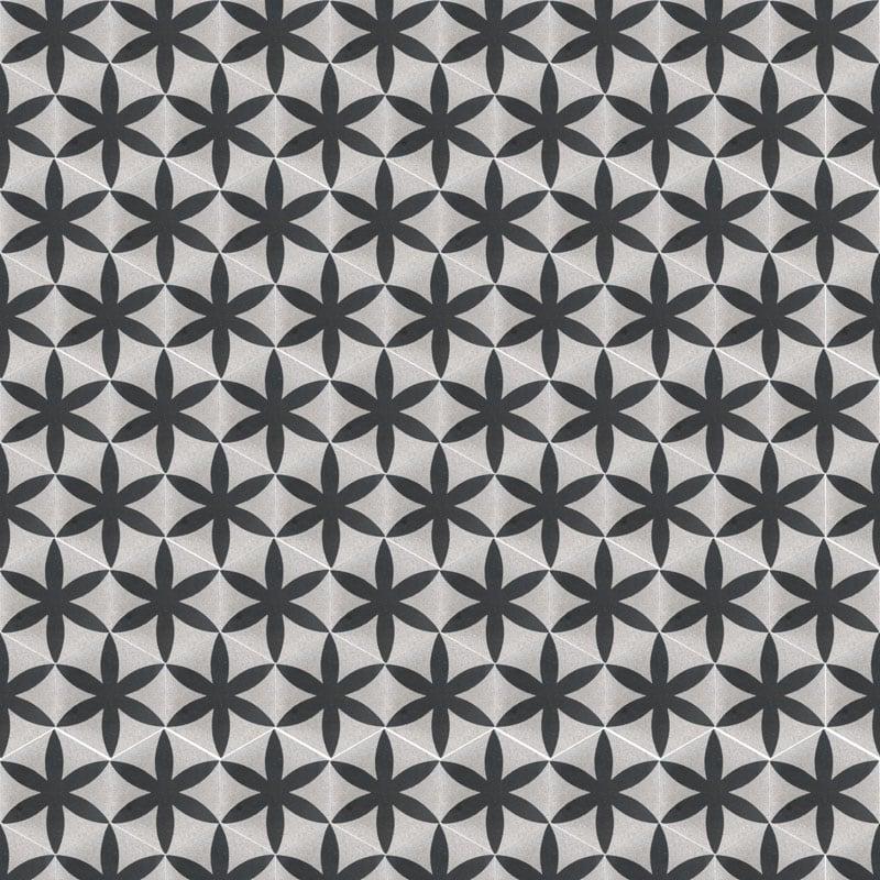 VIA Terrazzofliese 6eck Muster in schwarz weiß