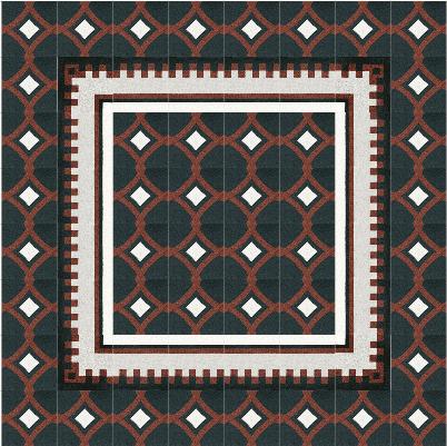 VIA Terrazzoplatten in einem dunklen Muster mit weißen Rechtecken