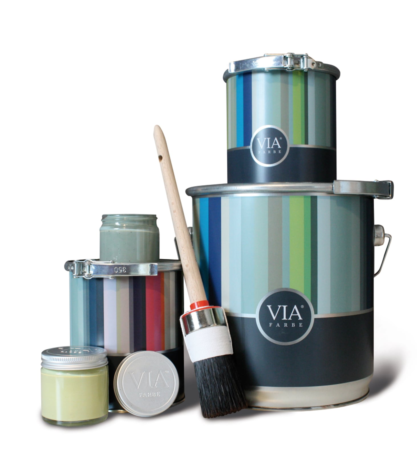 VIA-Kreidefarbe-Farbeimer-Gläschen