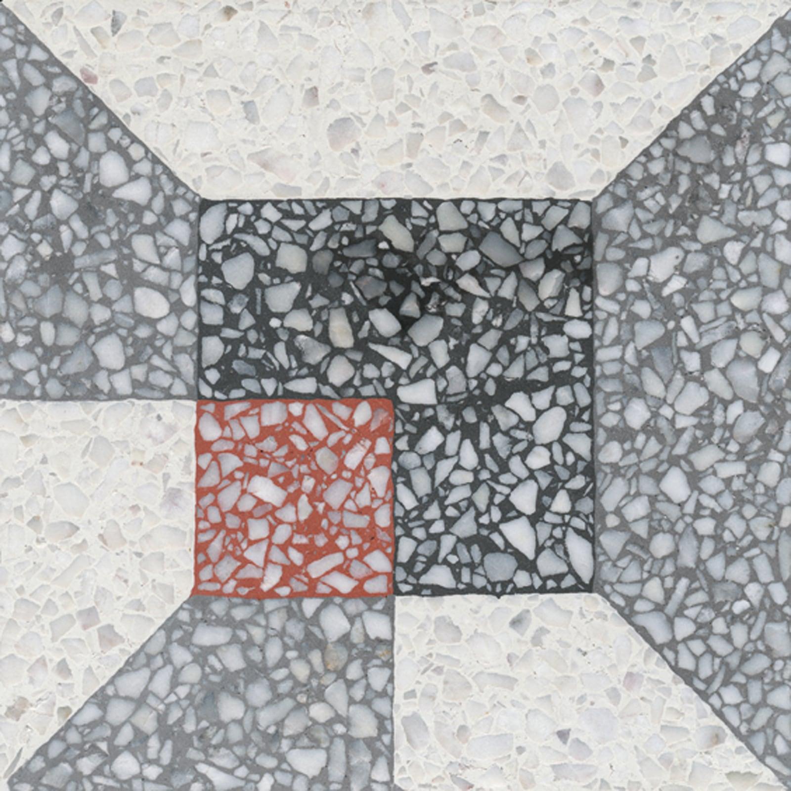 VIA Terrazzoplatte mehrfarbiges Muster aus Formen