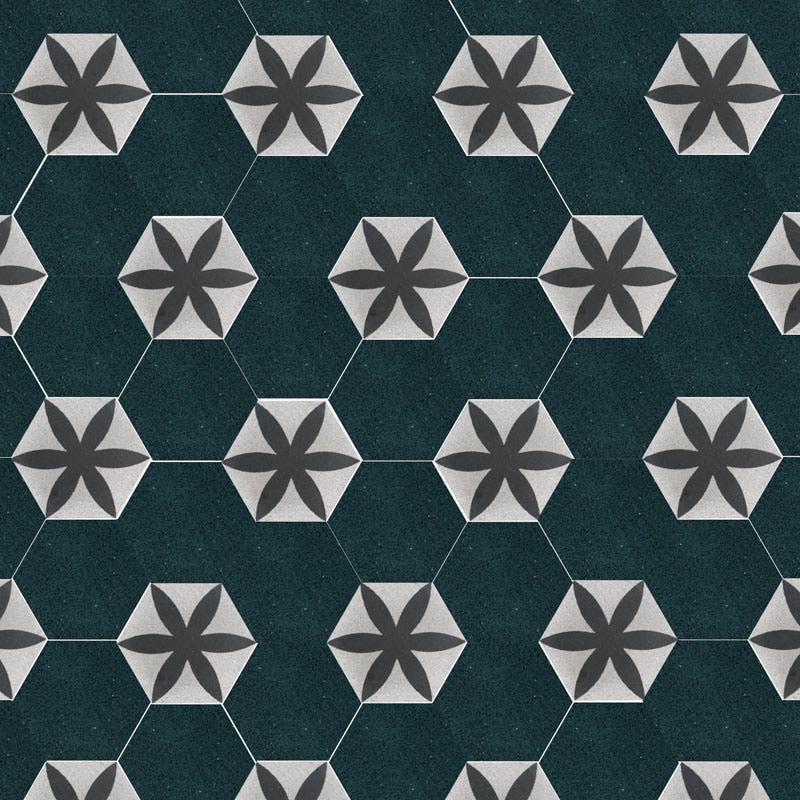 VIA Terrazzoplatten 6eck in schwarz weiß Muster