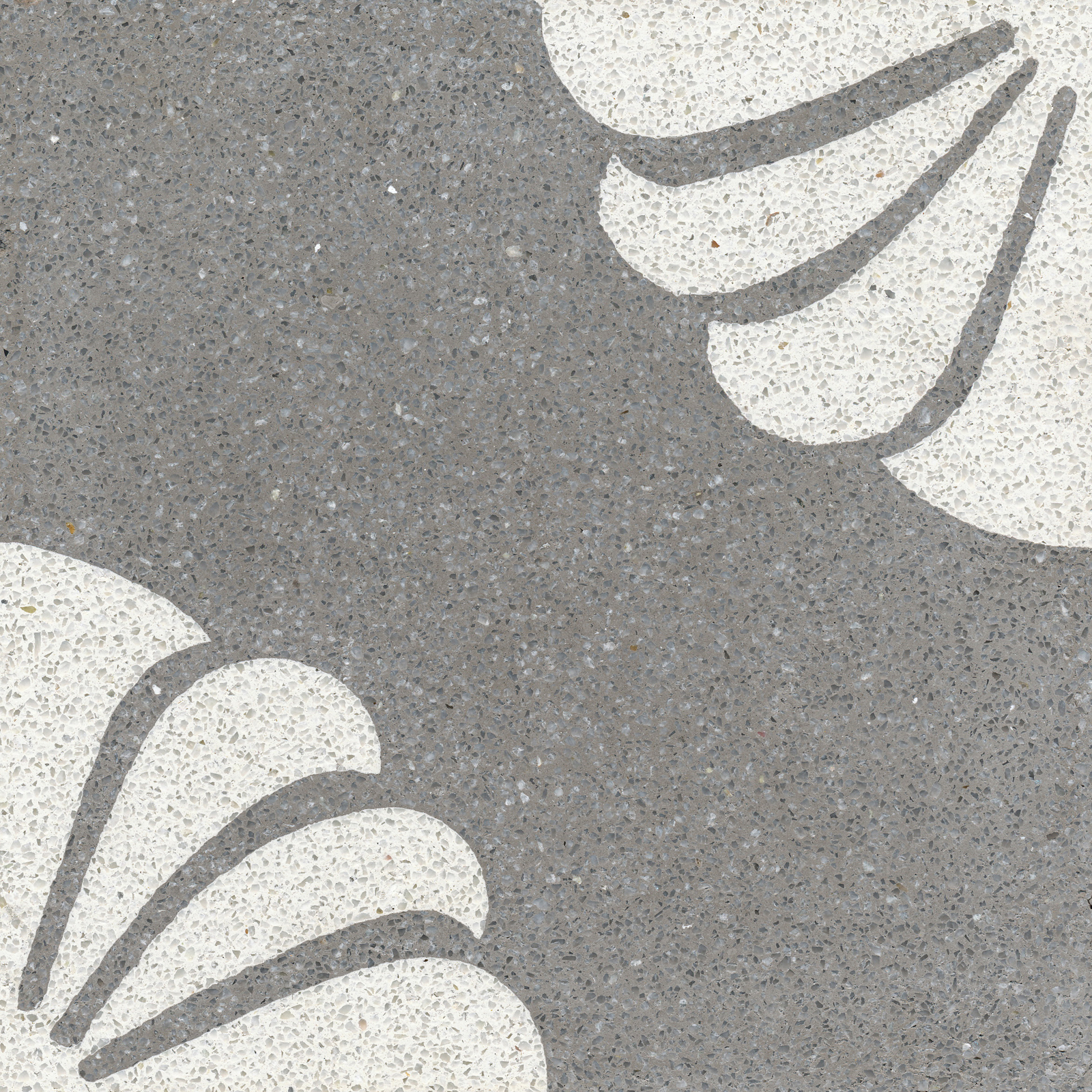 VIA Terrazzofliese florales Muster  in grau und weiß