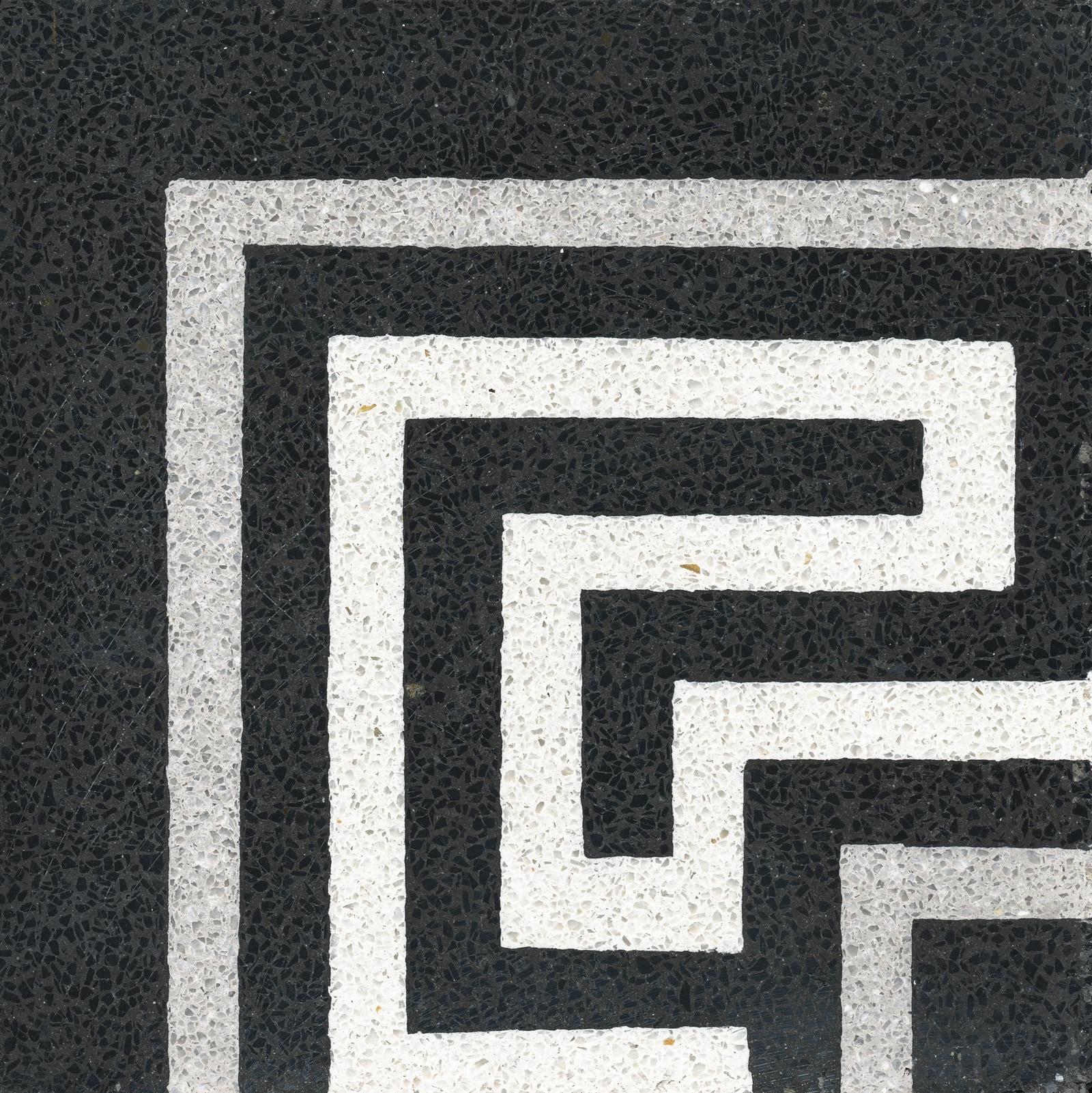VIA Terrazzoboden schwarz weiß Eckmuster