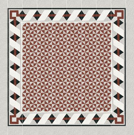 Fliese mit Muster aus roten Dreiecken