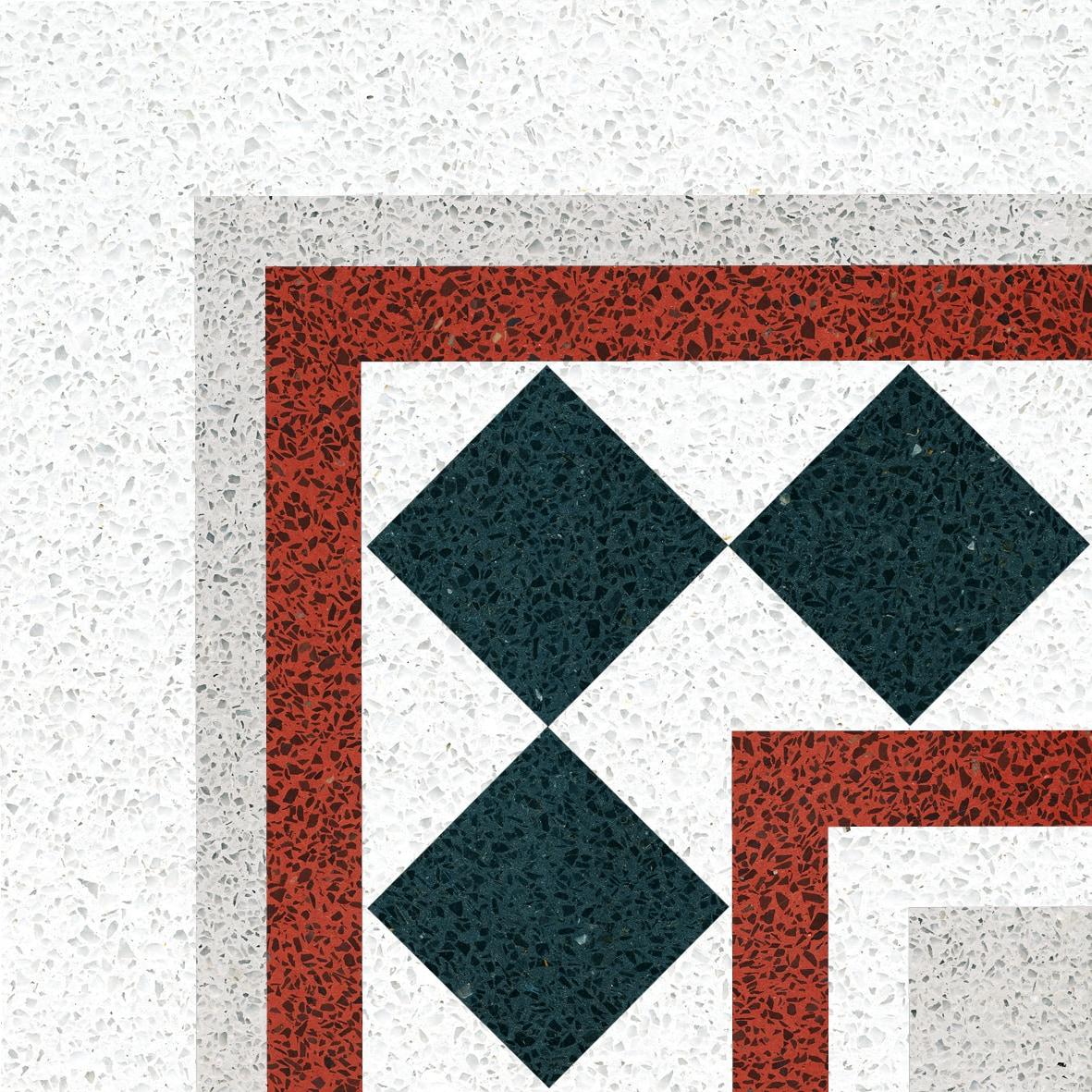 VIA Terrazzo bunt mit schwarzen Rechtecken
