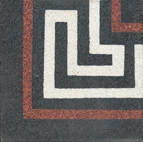 VIA Terrazzofliese mit Linien in weiß und rot