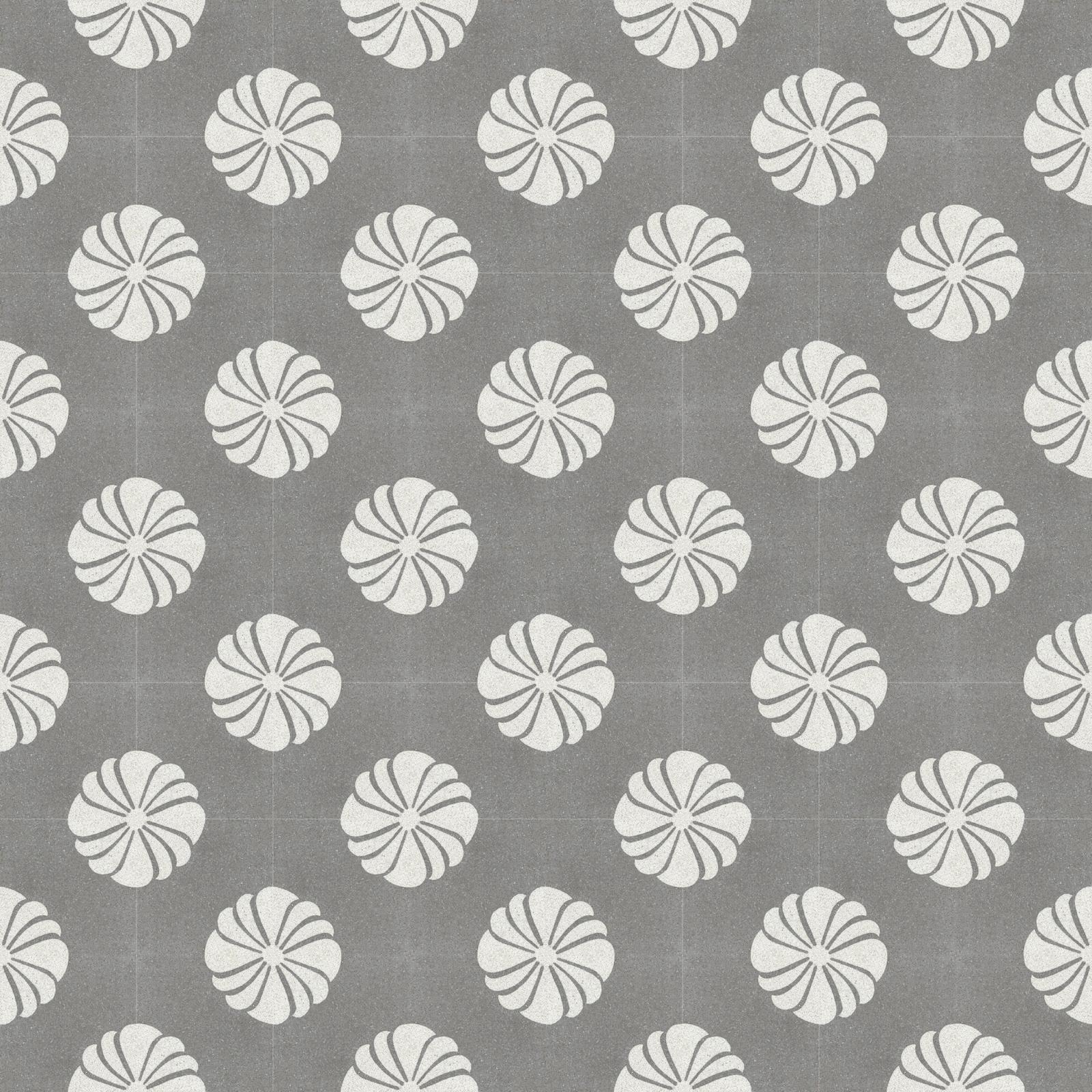 Terrazzoboden mit floralem Muster in weiß auf grauem Grund