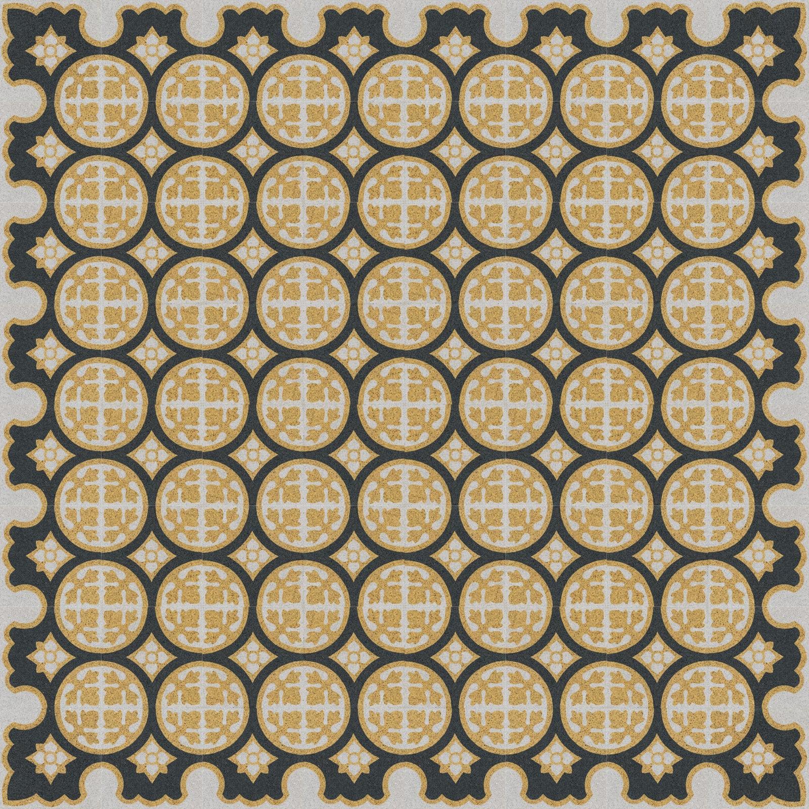 VIA Terrazzofliese mir Muster aus Kreisen in gelb und schwarz