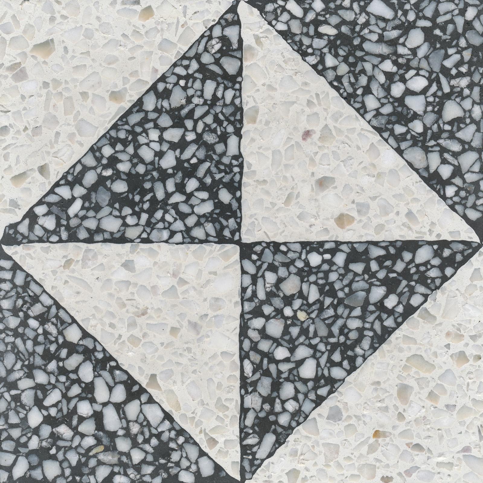 VIA Terrazzofliese Muster in schwarz und weiß