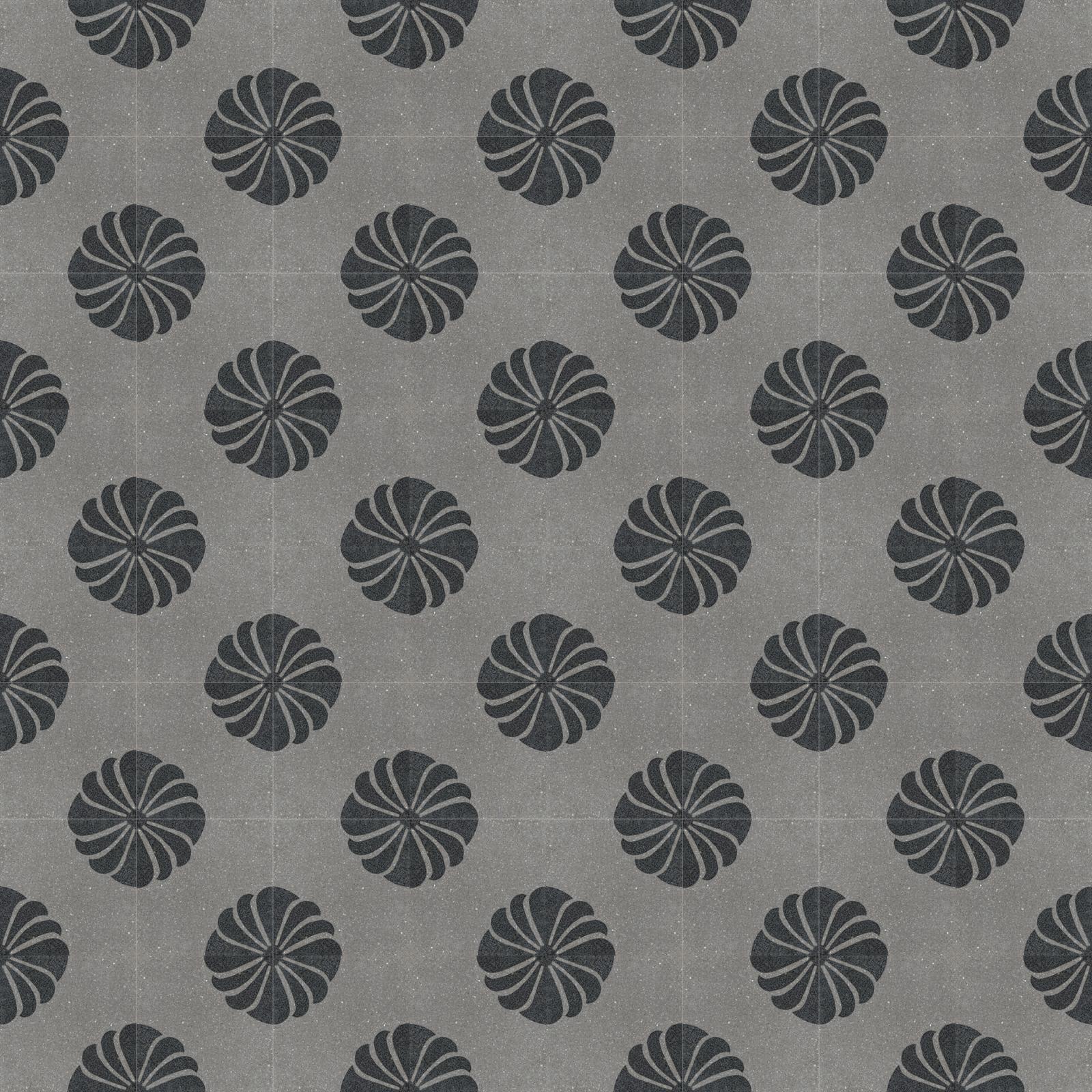 VIA Terrazzofliese mit floralem Muster in schwarz auf grauem Grund