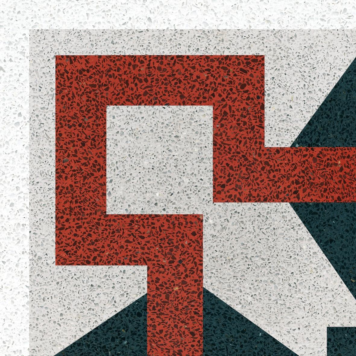 VIA Terrazzo Eckdesign mit roter Linie