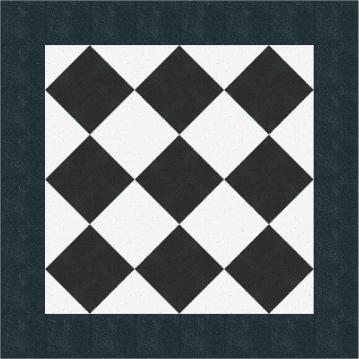 Klassisches Muster in schwarz weiß mit Terrazzoboden