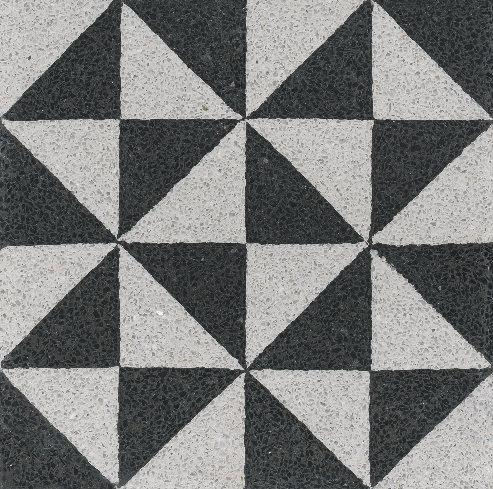 VIA Terrazzoboden Dreiecke in schwarz und weiß