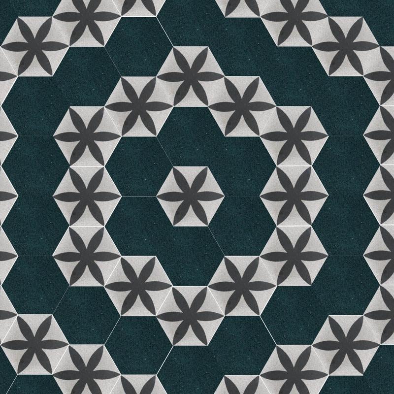 Muster aus 6eck Terrazzofliesen