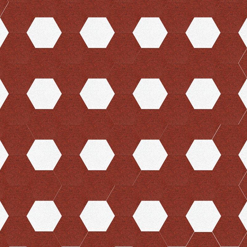 VIA Terrazzoplatten 6eck  Muster in rot und weiß