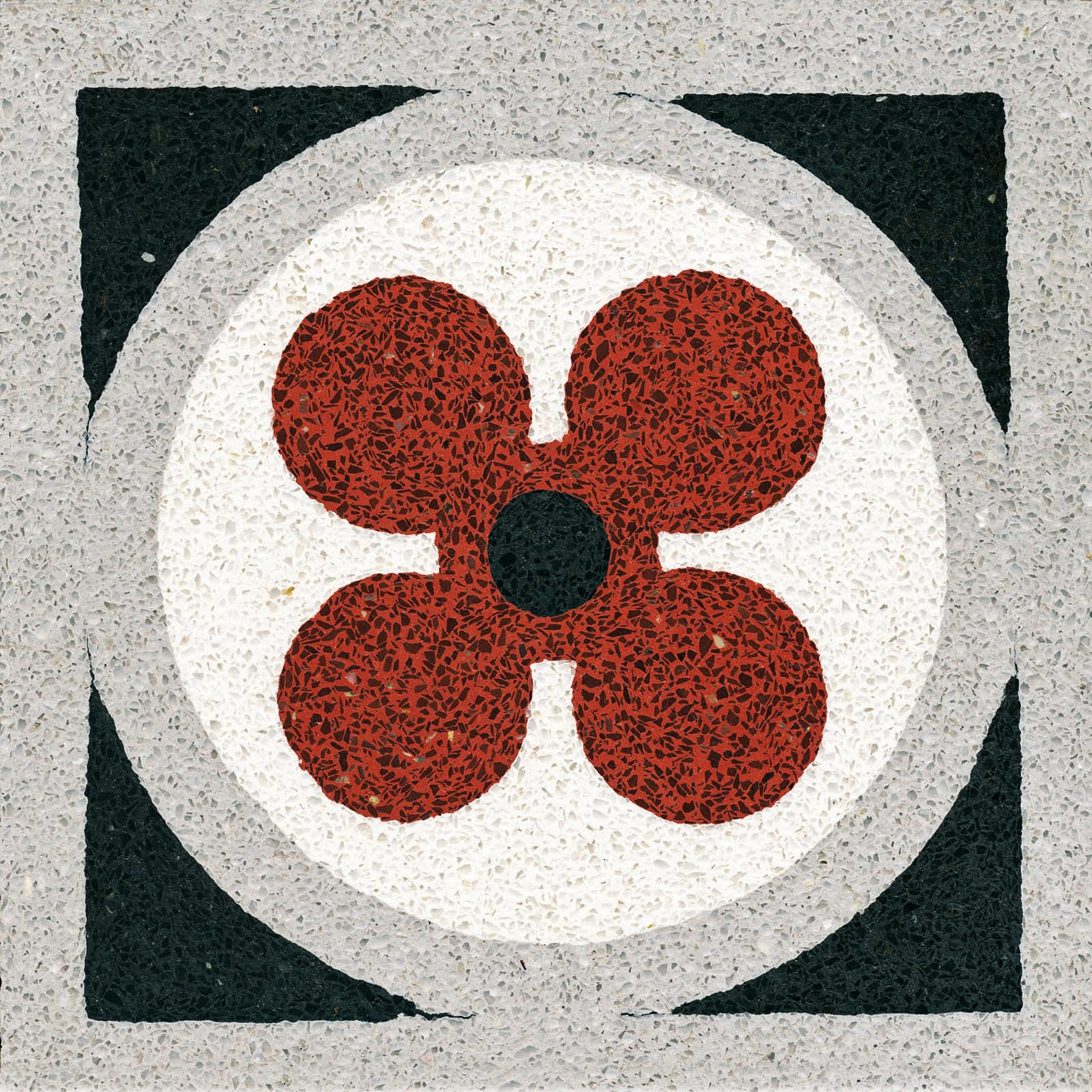 VIA Terrazzofliese mehrfarbig mit roter Blume