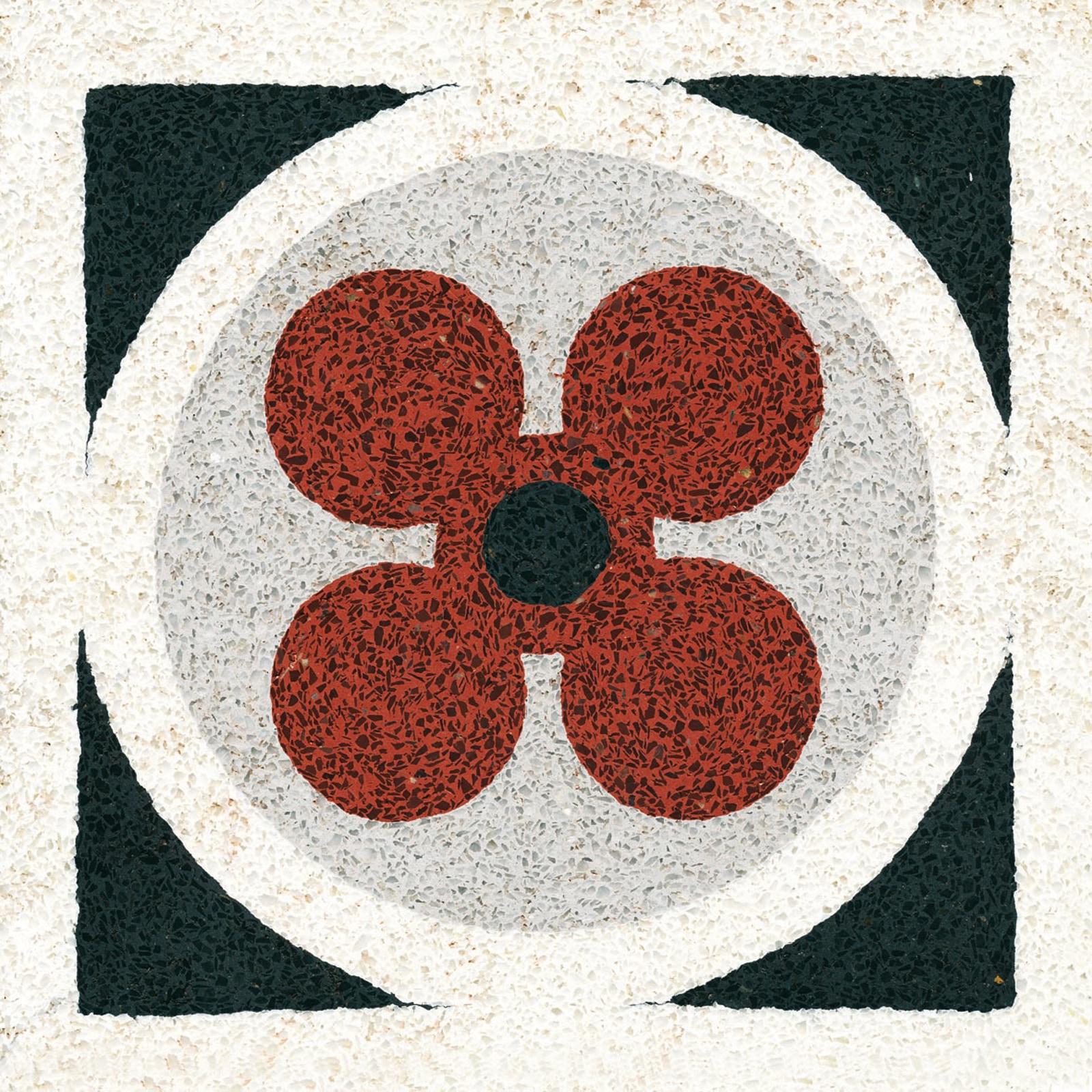 VIA Terrazzofliese mit Blume in rot