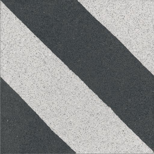 VIA Terrazzofliese mit Streifen in schwarz und weiß