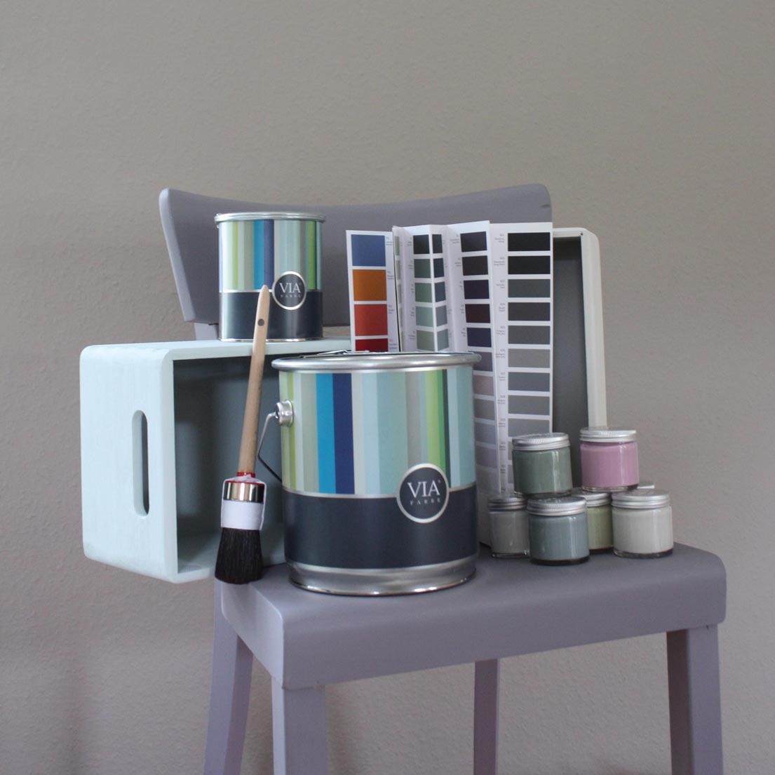 VIA-Kreidefarbe-Eimer-Gläschen-Farbfächer