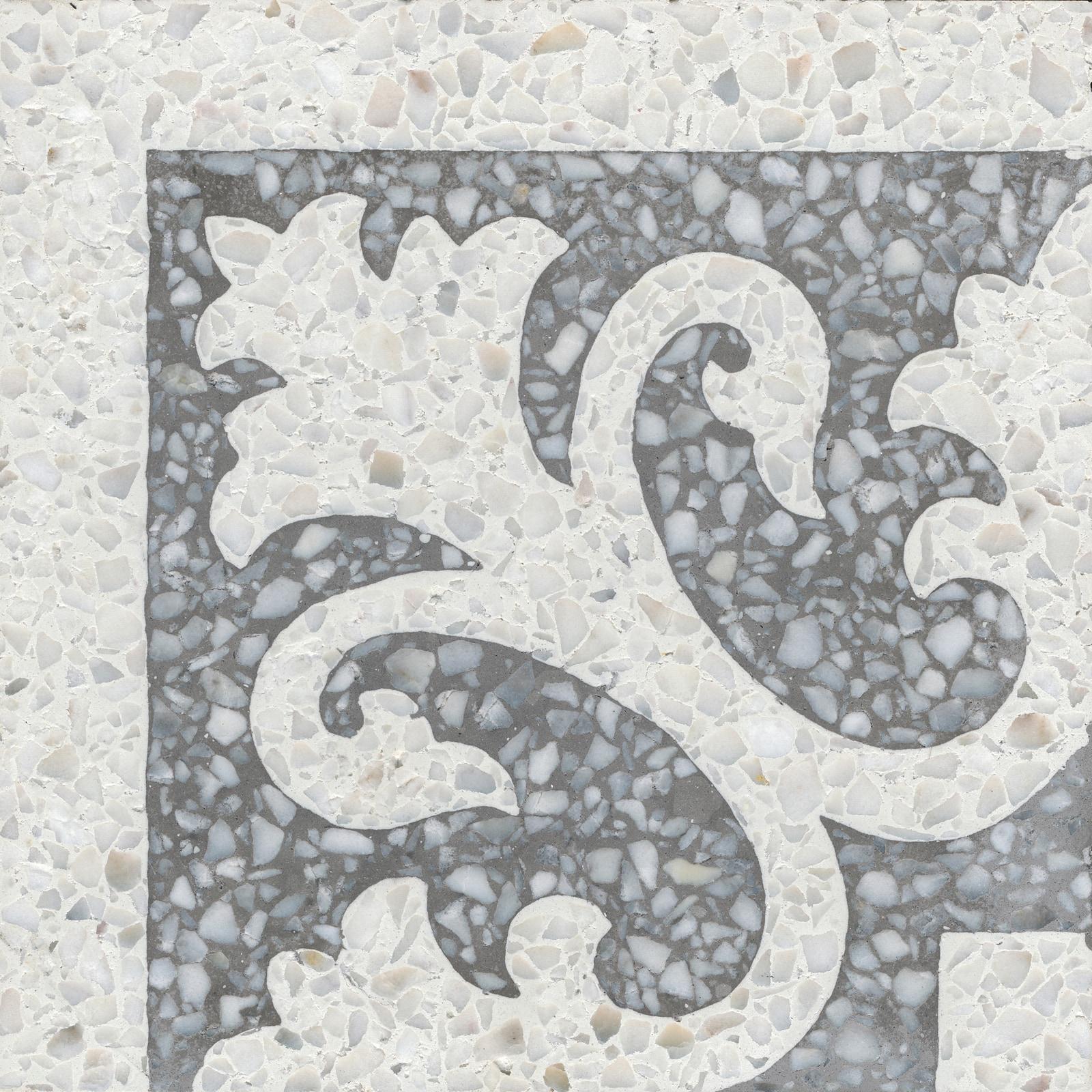 VIA Terrazzoplatte weißes Muster auf grau