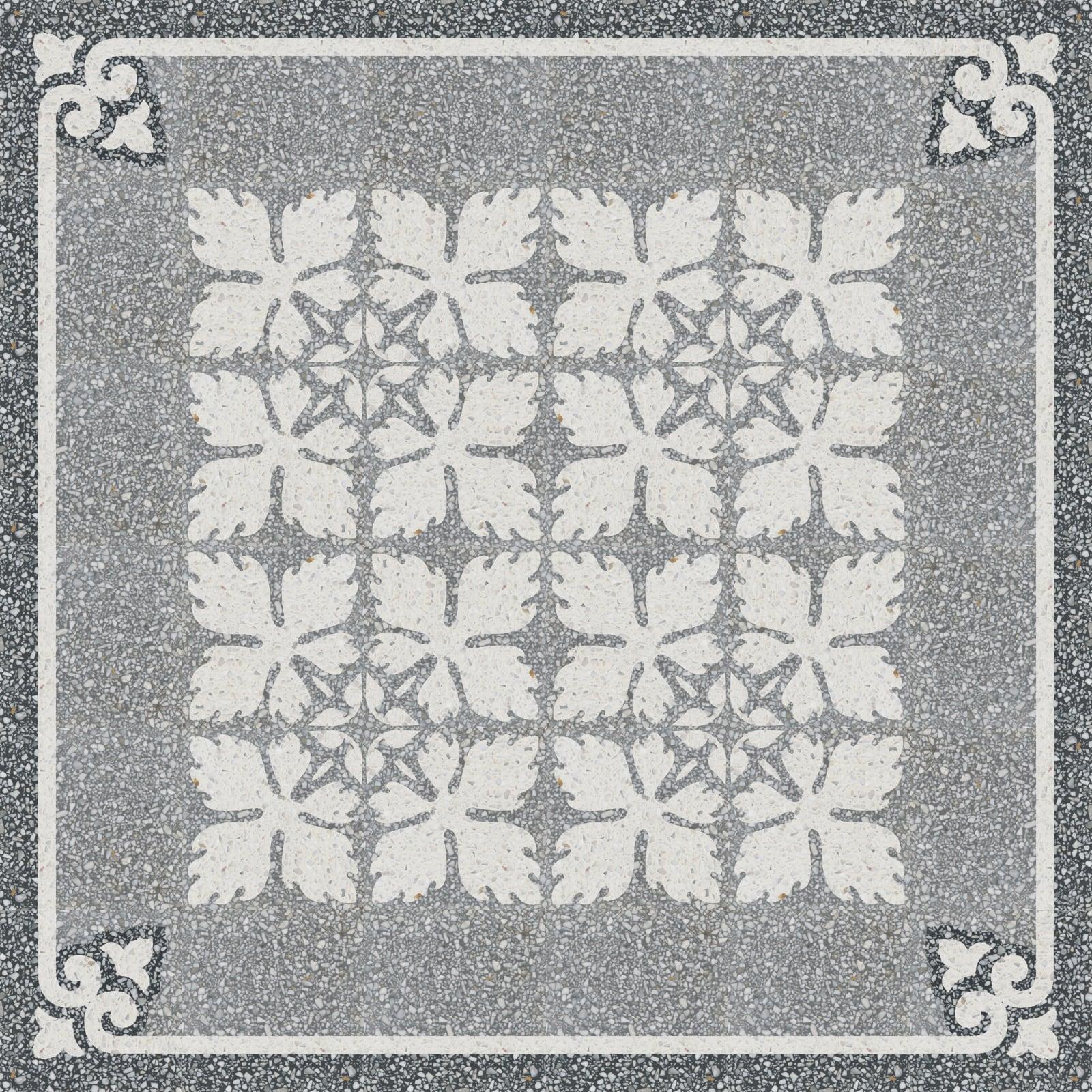 VIA Terrazzoplatte grob in grau und weiß Muster aus Blättern